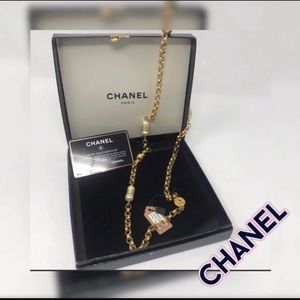 "Chanel Pearl Necklace. 1986 32"" 24kGP"